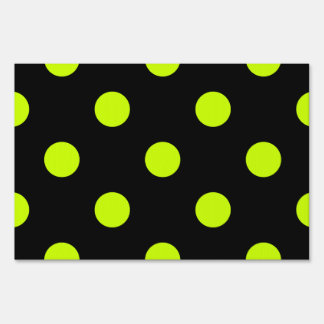 Large Polka Dots - Fluorescent Yellow on Black Lawn Sign