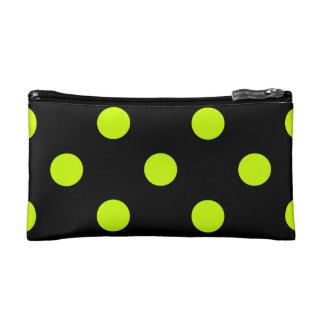 Large Polka Dots - Fluorescent Yellow on Black Makeup Bag