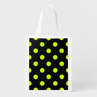 Large Polka Dots - Fluorescent Yellow on Black Reusable Grocery Bags