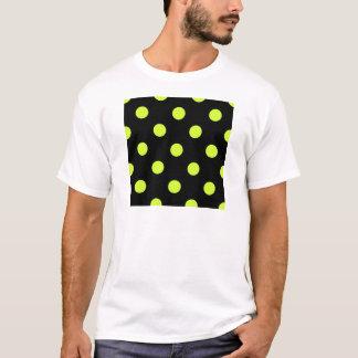 Large Polka Dots - Fluorescent Yellow on Black T-Shirt