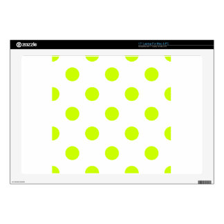 "Large Polka Dots - Fluorescent Yellow on White 17"" Laptop Skins"