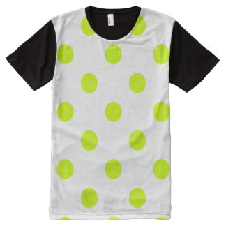 Large Polka Dots - Fluorescent Yellow on White All-Over-Print T-Shirt