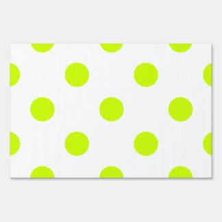 Large Polka Dots - Fluorescent Yellow on White Lawn Sign