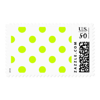 Large Polka Dots - Fluorescent Yellow on White Postage