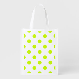 Large Polka Dots - Fluorescent Yellow on White Reusable Grocery Bag
