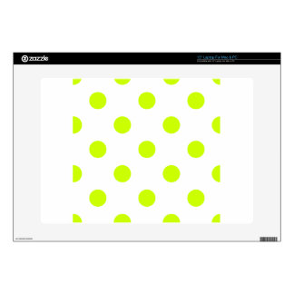 "Large Polka Dots - Fluorescent Yellow on White Skins For 15"" Laptops"