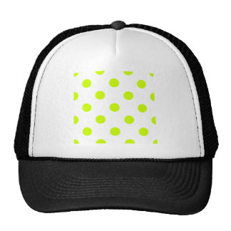 Large Polka Dots - Fluorescent Yellow on White Trucker Hat