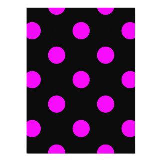 Large Polka Dots - Fuchsia on Black Card
