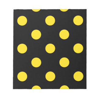 Large Polka Dots - Golden Yellow on Black Notepad