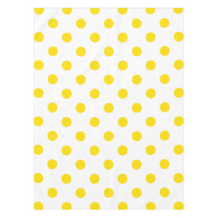 Large Polka Dots   Golden Yellow On White Tablecloth