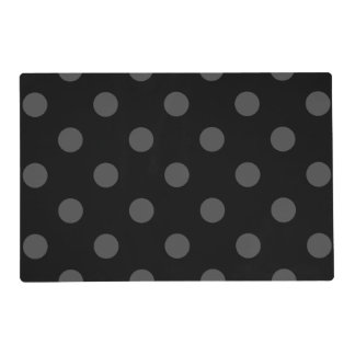 Large Polka Dots - Gray on Black Placemat