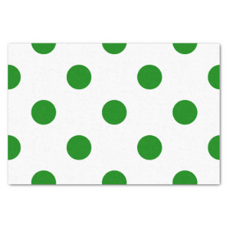 Large Polka Dots - Green on White Tissue Paper