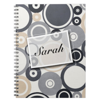 Large polka dots grey and brown Notebook