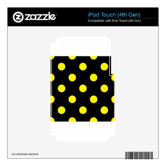 Large Polka Dots - Lemon on Black iPod Touch 4G Decals