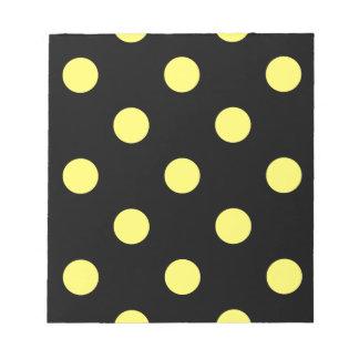 Large Polka Dots - Lemon on Black Notepad