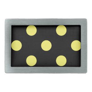 Large Polka Dots - Lemon on Black Rectangular Belt Buckle