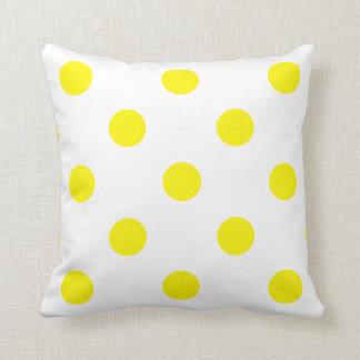 Large Polka Dots - Lemon on White Throw Pillow