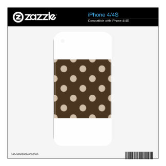 Large Polka Dots - Light Brown on Dark Brown Decals For iPhone 4