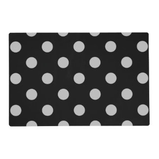 Large Polka Dots - Light Gray on Black Placemat
