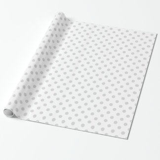 Large Polka Dots - Light Gray on White Wrapping Paper