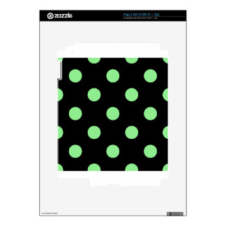 Large Polka Dots - Light Green on Black iPad 2 Decal