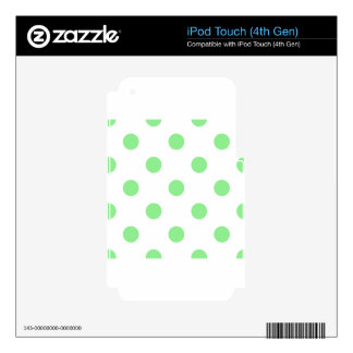 Large Polka Dots - Light Green on White Decal For iPod Touch 4G