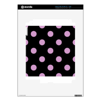 Large Polka Dots - Light Medium Orchid on Black iPad 2 Decals