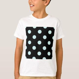 Large Polka Dots - Pale Blue on Black T-Shirt
