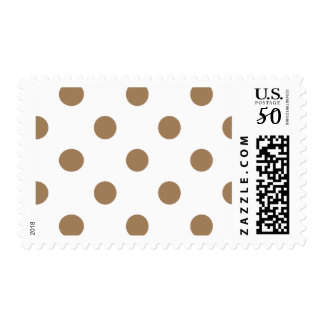 Large Polka Dots - Pale Brown on White Postage