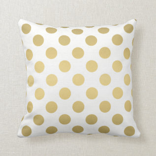 Large Polka Dots Pattern | Gold And White Throw Pillow at Zazzle