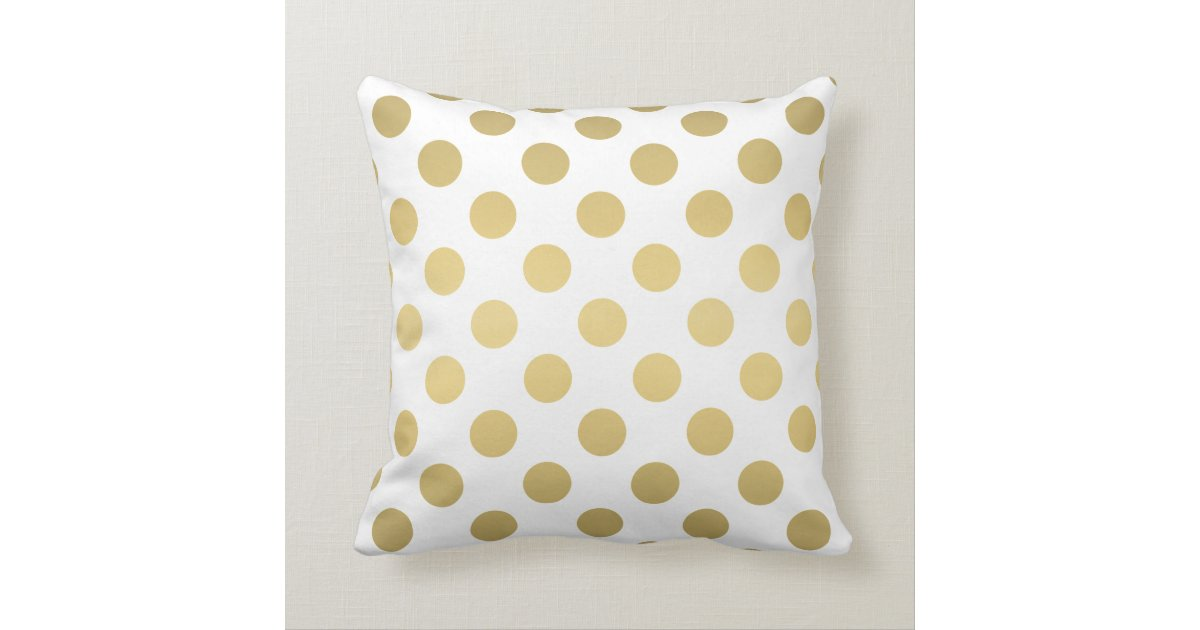 Large Throw Pillow Patterns : Large Polka Dots Pattern Gold and White Throw Pillow Zazzle