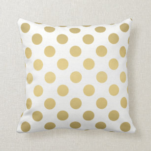 Large Polka Dots Pattern Gold And White Throw Pillow