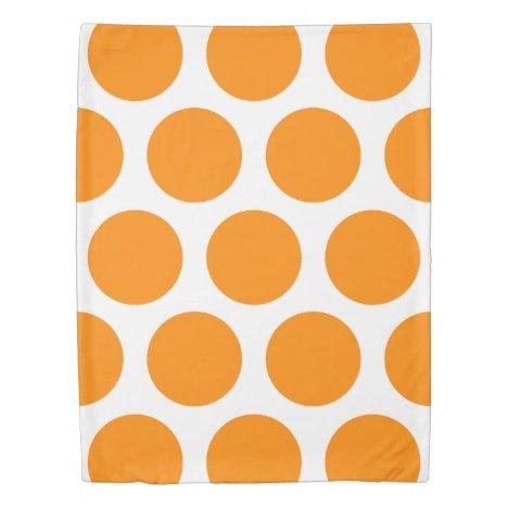 Large Polka Dots Pattern: Orange Duvet Cover