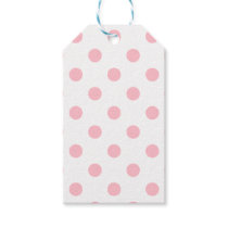 Large Polka Dots - Pink on White Gift Tags