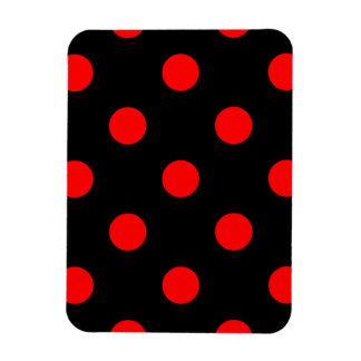 Large Polka Dots - Red on Black Magnet