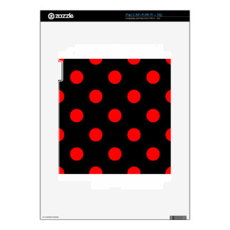 Large Polka Dots - Red on Black Skin For iPad 2