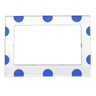 Large Polka Dots - Royal Blue on White Magnetic Frame