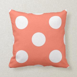 Large Polka Dots Salmon Pink Design Pillows