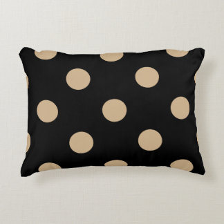 Large Polka Dots - Tan on Black Accent Pillow