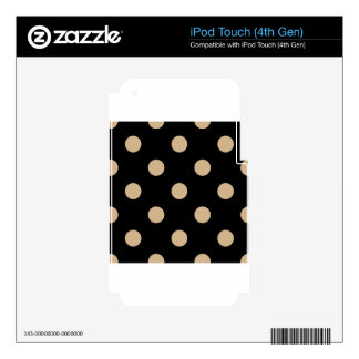 Large Polka Dots - Tan on Black Decal For iPod Touch 4G