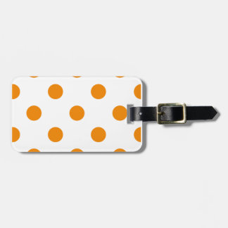 Large Polka Dots - Tangerine on White Luggage Tag
