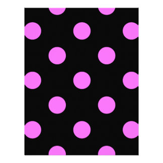 Large Polka Dots - Ultra Pink on Black Letterhead