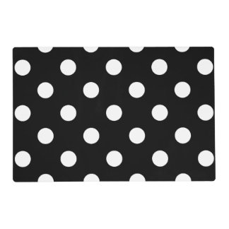 Large Polka Dots - White on Black Placemat