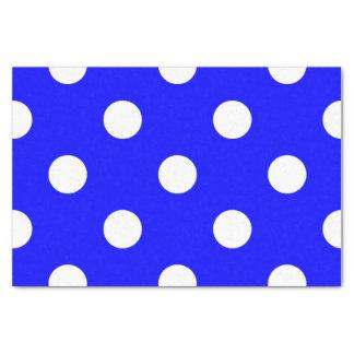 Large Polka Dots - White on Blue Tissue Paper