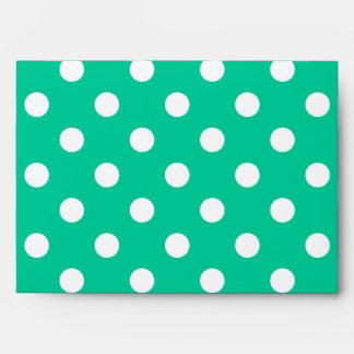 Large Polka Dots - White on Caribbean Green Envelope