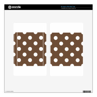 Large Polka Dots - White on Coffee Skin For Kindle Fire