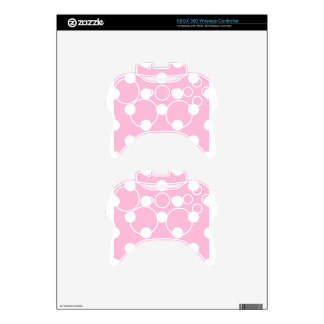 Large Polka Dots - White on Cotton Candy Xbox 360 Controller Decal