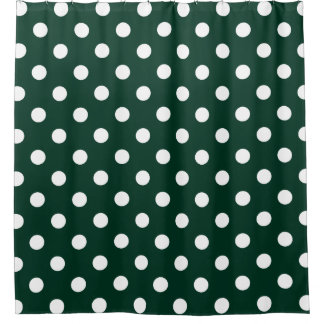Large Polka Dots - White on Dark Green Shower Curtain