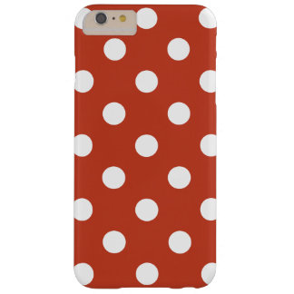 Large Polka Dots - White on Dark Pastel Red Barely There iPhone 6 Plus Case