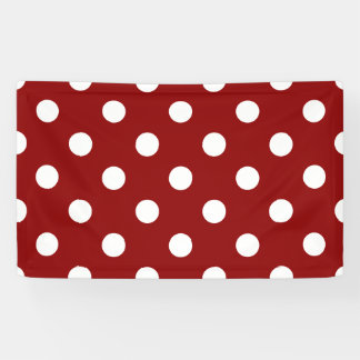 Large Polka Dots - White on Dark Red Banner